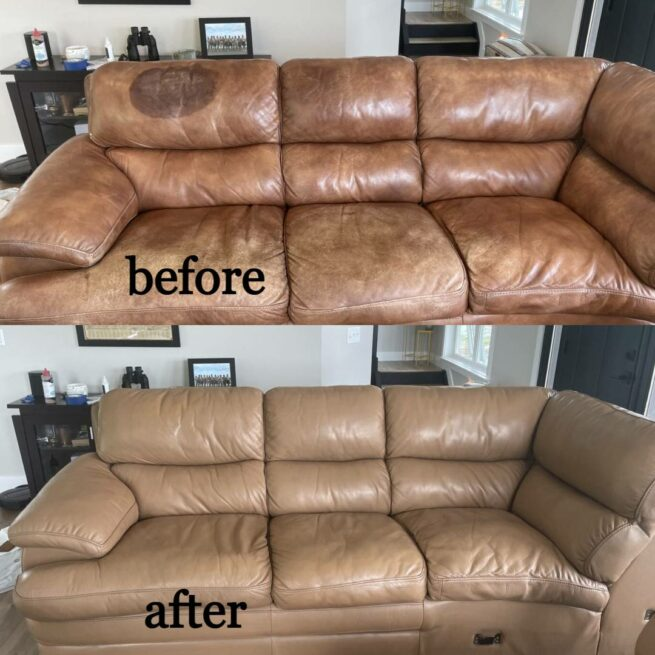 Collage of before-after photos showing oil-stained leather couch restored with Honey colored Rub n Restore leather dye
