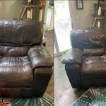 Before-after comparison of leather recliner chair made new with Rub n Restore