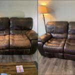Before-after comparison of leather loveseat made new with Rub n Restore