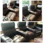 Collage of before and after photos of reclining leather and vinyl couch refinished with Rub n Restore