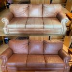 Before-after picture of leather couch restored with Rust Rub n Restore