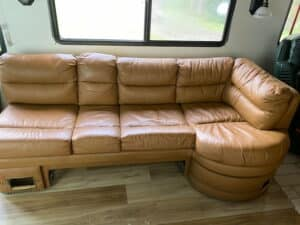 Picture of motorhome RV couch changed to Cognac with Rub n Restore