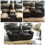 Before and after collaged photos of faded leather and vinyl couch refinished with Rub n Restore