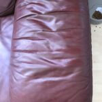 Picture of burgundy leather arm after Cherrywood Rub n Restore