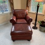 Picture of leather club chair and ottoman after Rub n Restore