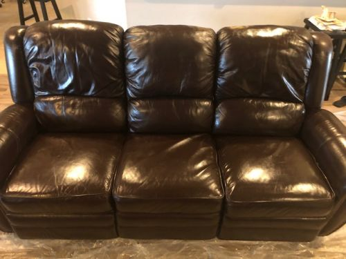 Photo of leather couch repaired and restored with filler and Rub n Restore