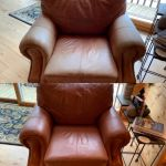 Before-after of leather chair refinished with Rust Rub n Restore leather paint