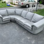 Picture of red leather sectional changed to slate grey with Rub and Restore