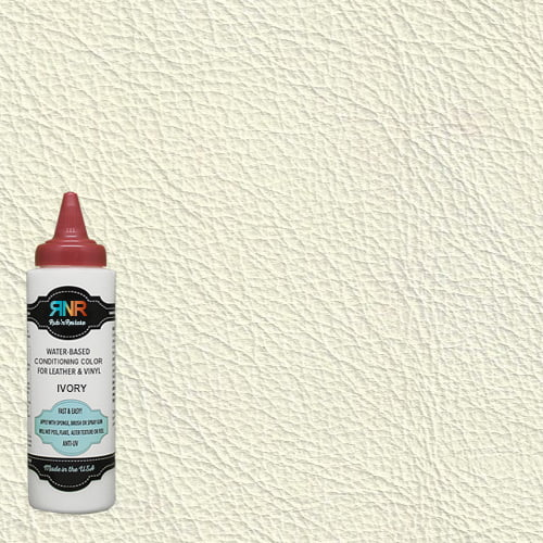 Info graphic of ivory leather & vinyl color with Rub n Restore bottle