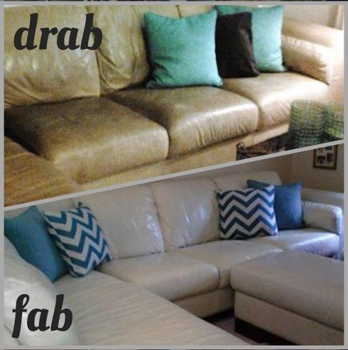 Before and after photos of ivory colored couch restoration