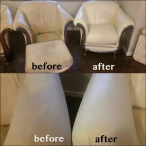 Ivory colored leather chair before an after restoration