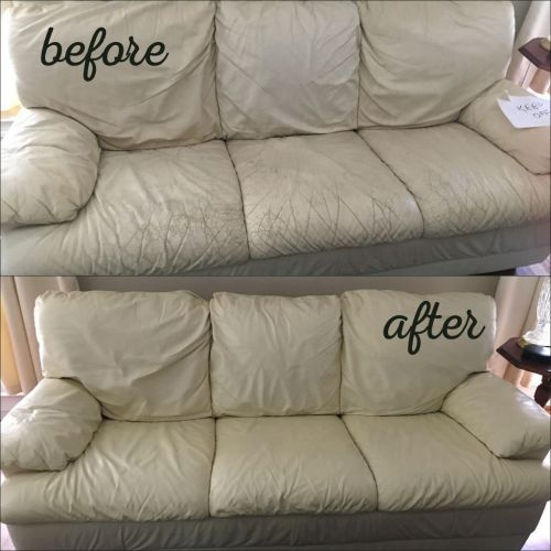 Before and after color of an ivory colored leather couch that has been restored.