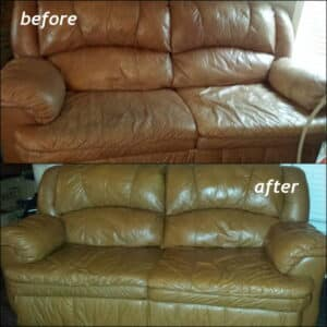 A leather loves seat that has been restored with cognac brown dye before and after photos