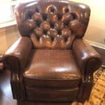 Picture of tufted leather chair after Rub n Restore restoration