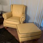 Picture of buttery yellow leather chair and ottoman