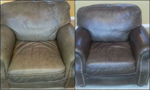 A leather chair that has been restored.
