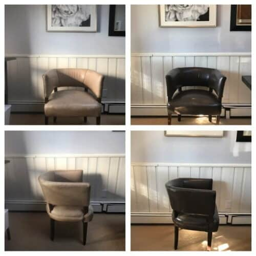 Before-after-collage of leather club chair recolored with Espresso Rub n Restore