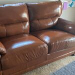 Picture of scratched brown leather couch fixed with Rust RubnRestore and Clear Prep+Finish