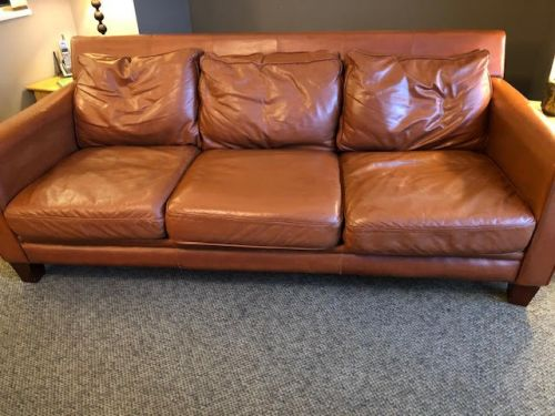 Picture of leather couch after using mix of Rust and Clear Rub n Restore