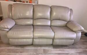 Image of leather couch after stone color Rub n Restore applied