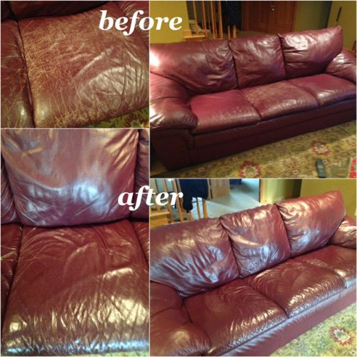 Leather couch restoration before and after
