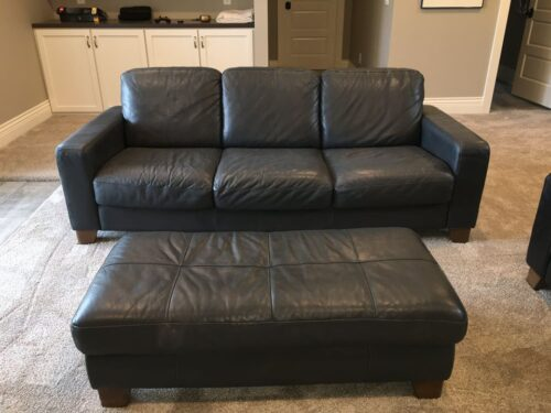Picture of leather couch and ottoman changed to dark grey with Rub n Restore