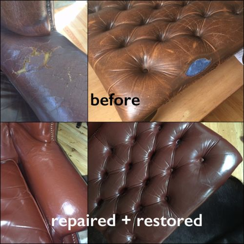 Large holes in upholstery that have been repaired