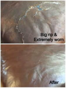 Ripped leather that has been repaired