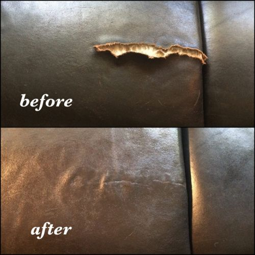 Large rip in leather repaired before and after photo