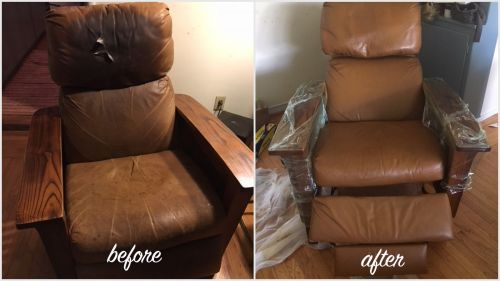 Brown leather chair before and after restoration and repair.