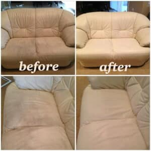 Before and after photo of a leather couch restored with Rub n Restore