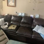 Picture of brown leather vinyl sectional before Rub n Restore
