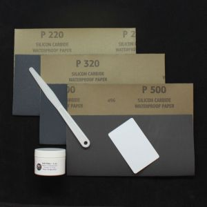 Leather filler and repair kit with sandpaper