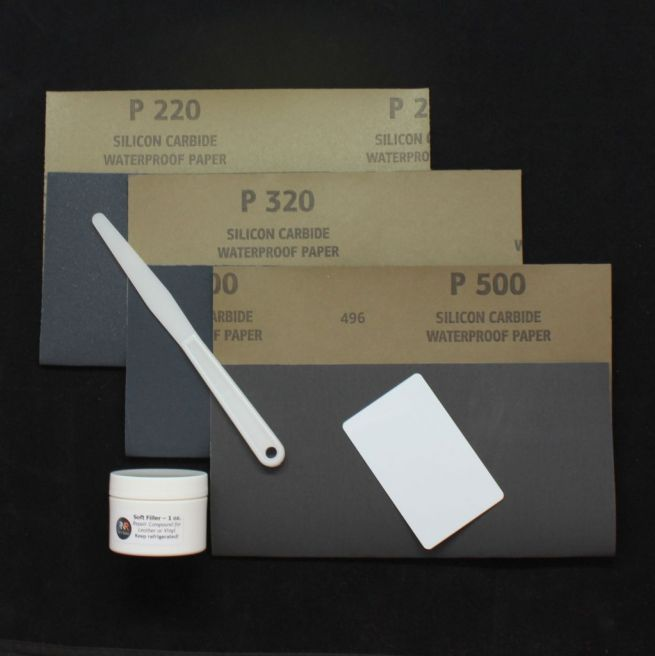Leather filler repair kit with tools and sandpaper