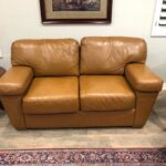 Picture of leather loveseat after Cognac RubnRestore