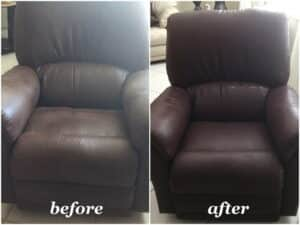 Before and after photo of a chair dyed with mahogany color