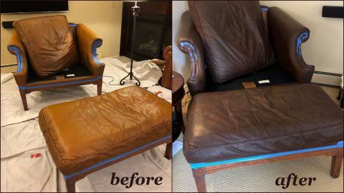 Leather chair and footrest that has been recolored with mahogany. Before and after.