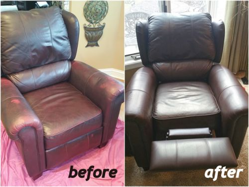 Before and after photo of a chair recolored with mahogany