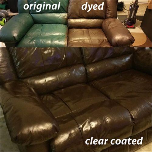 Mahogany dye used to restore a sofa