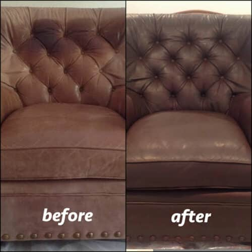 A chair dyed with mahogany color, before and after