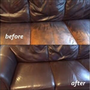Before and after photo of mahogany color restoration