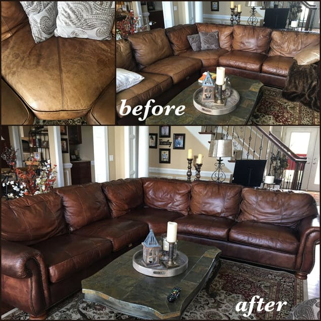 Distressed leather sectional restored with mahogany colored dye