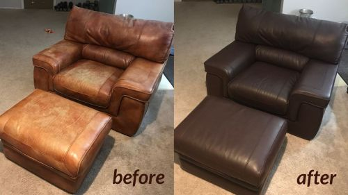 Before and after photo of a recolored chair and ottoman. From light brown to mahogany color.