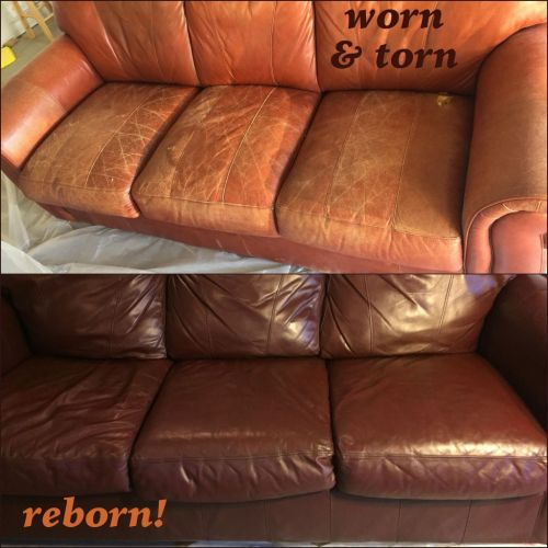 Before and after photo of leather couch recolored with mahogany dye.