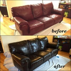 Mahogany leather color used to restore a couch
