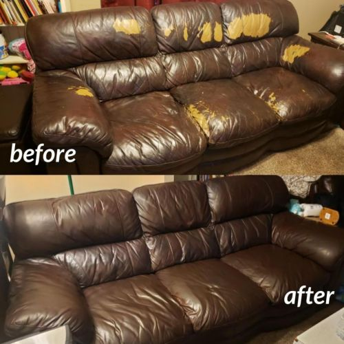 Before and after photo of a restored leather couch, mahogany color.