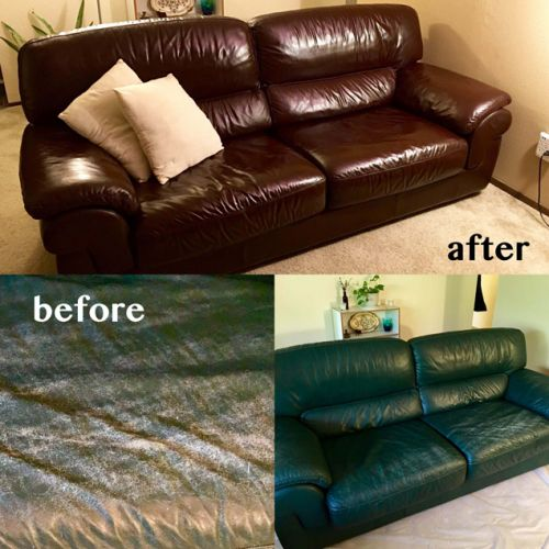 Before and after photo of leather couch restored with mahogany color