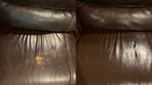 Leather cushion that has been repaired with leather filler compound.