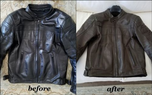 Before and after photos of leather jacket colored with Rub N Restore