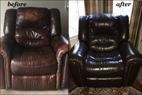 Mahogany leather recliner recolored with Rub n Restore